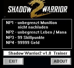 Shadow Warrior 2: Trainer (+4) [1.0] {dR.oLLe}