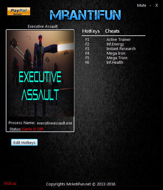Executive Assault: Trainer (+5) [1.1999.9] {MrAntiFun}