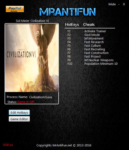 Sid Meier's Civilization 6: Rise And Fall Expansion - Trainer +12​ v1.0.0.257 {MrAntiFun}