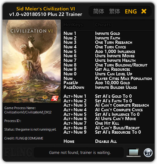 Sid Meier's Civilization 6: Trainer +22 v1.0 Update 10.05.2018 {FLiNG}