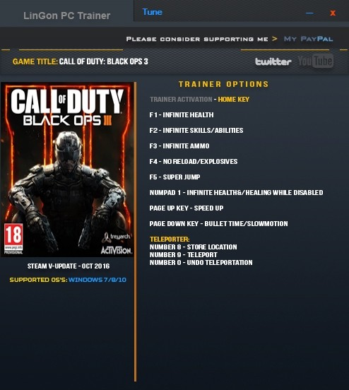 Call of Duty: Black Ops 3: Trainer (+9) [Update Oct 2016: only steam] {LinGon}