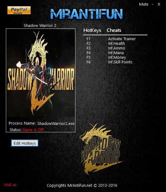 Shadow Warrior 2: Trainer (+5) [1.3.0] {MrAntiFun}