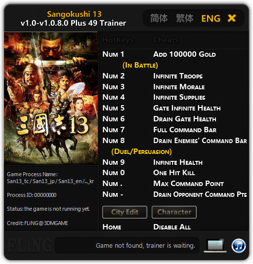 Romance of the Three Kingdoms 13: Trainer +49 v1.0 - 1.0.8.0 {FLiNG}