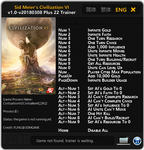 Sid Meier's Civilization 6: Trainer +22 [1.0 - Update 08.03.2018] {FLiNG}