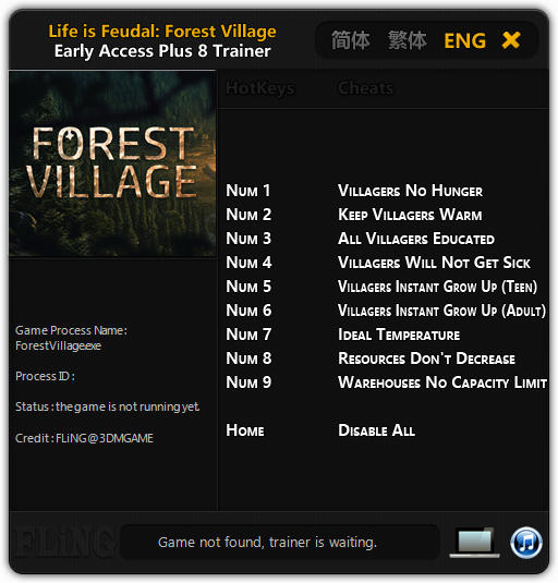 Life is Feudal: Forest Village - Trainer +8 Early Access Updated 2016.10.27 {FLiNG}