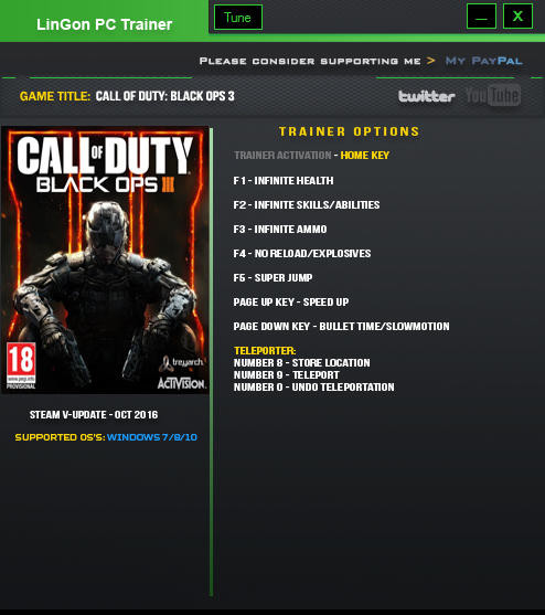 Call of Duty: Black Ops 3 - Trainer +9 Update 26 {LinGon}