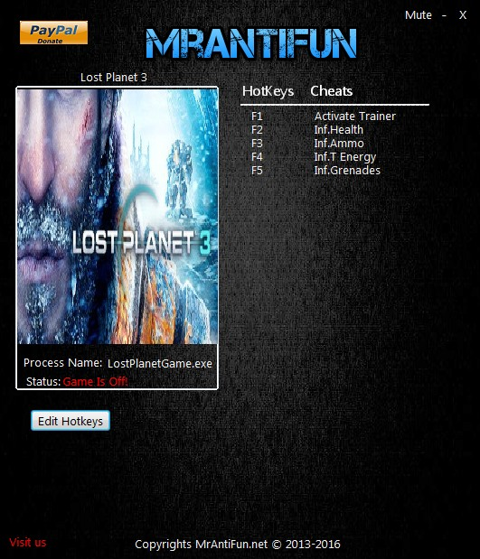 Lost Planet 3: Trainer +4 V1.0.10246 {MrAntiFun}