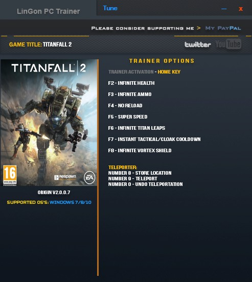 Titanfall 2: Trainer (+9) [2.0.0.7] {LinGon}