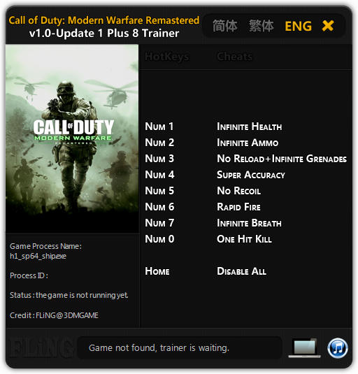 Call of Duty 4: Modern Warfare Remastered - Trainer (+8) [1.0 - Update 1] {FLiNG}