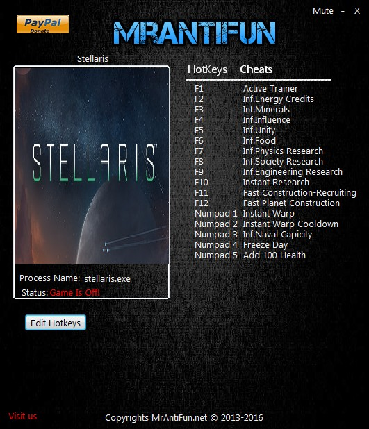 "Stellaris: Trainer +16 [2.0.2: Alternate ""B"" Version] {MrAntiFun}"