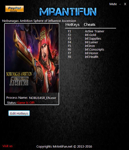 Nobunaga's Ambition: Sphere of Influence - Ascension: Trainer +7 V1.0.8.2 {MrAntiFun}