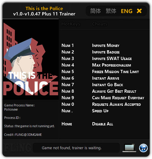 This Is the Police: Trainer (+11) [1.0 - 1.0.47] {FLiNG}