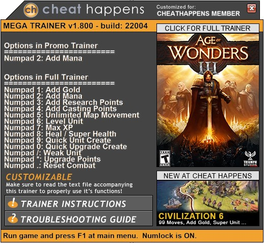 Age of Wonders 3: Trainer +13 v1.800 Build 22028 (+ETERNAL REALMS) {CheatHappens.com}