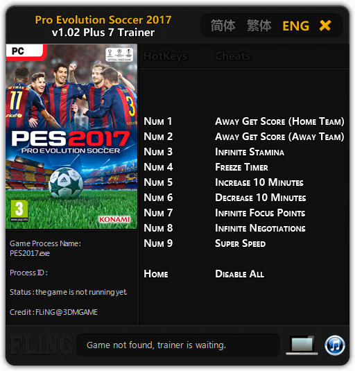 Pro Evolution Soccer 2017 - Trainer +7 v1.02 {FLiNG}