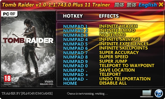Tomb Raider 2013: Trainer (+11) [1 0 ~ 1 1 743 0] {FLiNG} - Download