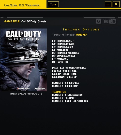 Call of Duty ~ Ghosts: Trainer (+16) [Update: 01.03.2015] {LinGon}