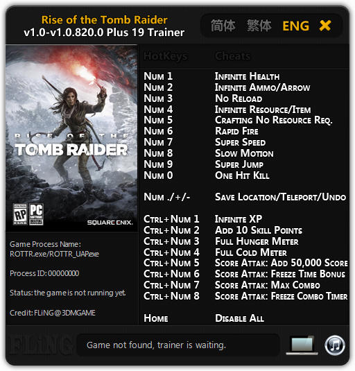 Rise of the Tomb Raider: Trainer (+19) [1.0 - 1.0.647.2] {FLiNG}
