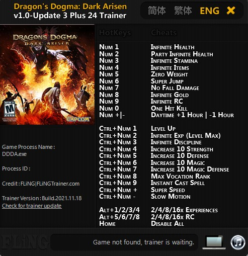 Dragon's Dogma - Dark Arisen: Trainer (+24) [1.0 - Update 3] {FLiNG}