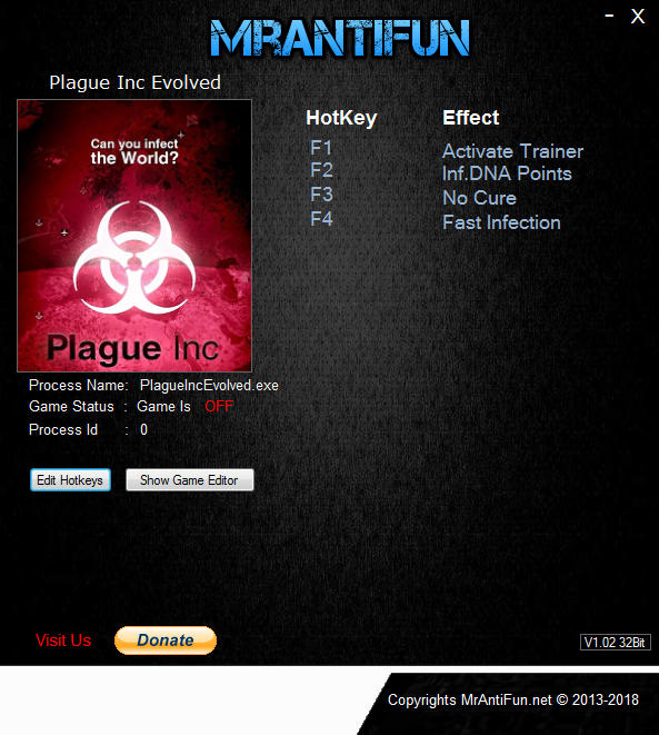 Plague Inc. Evolved: Trainer +3 v1.16.3 {MrAntiFun}