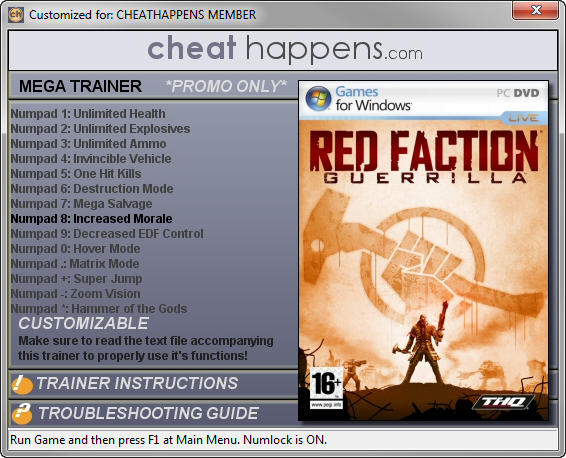 Red Faction: Guerrilla - Trainer +14 (STEAM EDITION 12.08.2016 DX10) {CheatHappens.com}