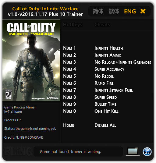 Call of Duty: Infinite Warfare - Trainer (+10) [1.0 - Update: 17.11.2016] {FLiNG}