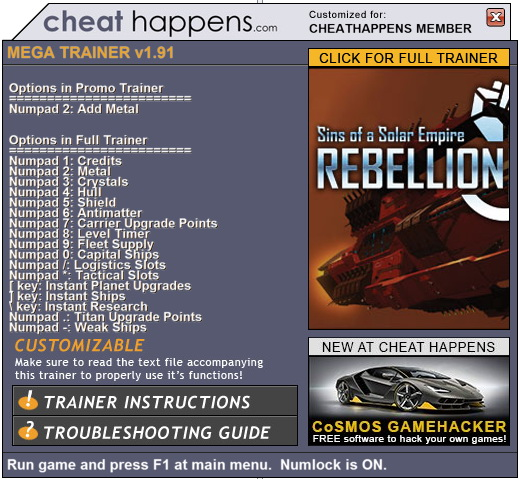 Sins of a Solar Empire: Rebellion - Trainer +17 (STEAM 1.91) {CheatHappens.com}