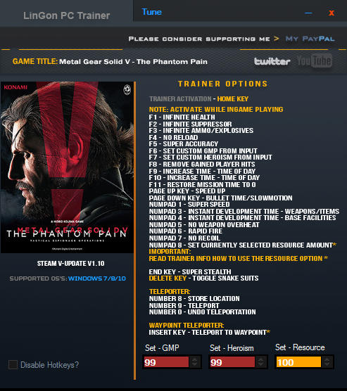 Metal Gear Solid 5: The Phantom Pain - Trainer +26 v1.10 {LinGon}