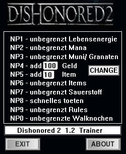 Dishonored 2: Trainer (+10) [1.2] {dR.oLLe}
