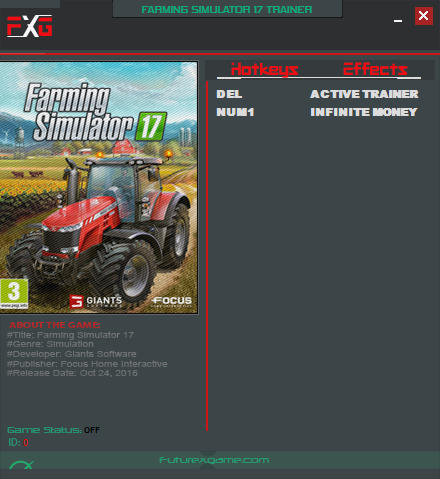 Farming Simulator 17: Trainer (+1 Money) [Update 2] {FutureX}