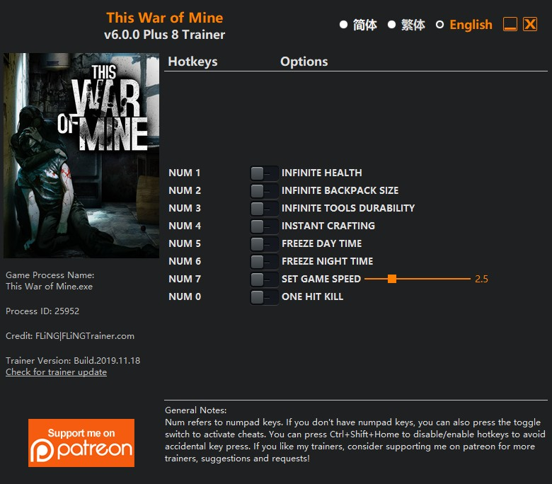 This War of Mine: Trainer (+7) [3.0 - 3.0.2] {FLiNG}