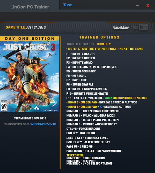 Just Cause 3: Trainer (+24) [Update: Nov 2016] {LinGon}