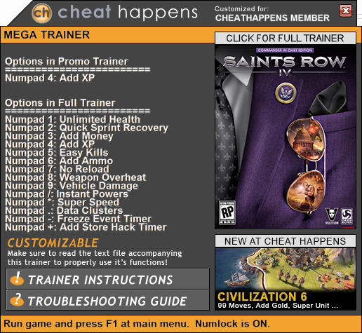 Saints Row 4: Trainer +14 (PATCH 01.28.2017) {CheatHappens.com}