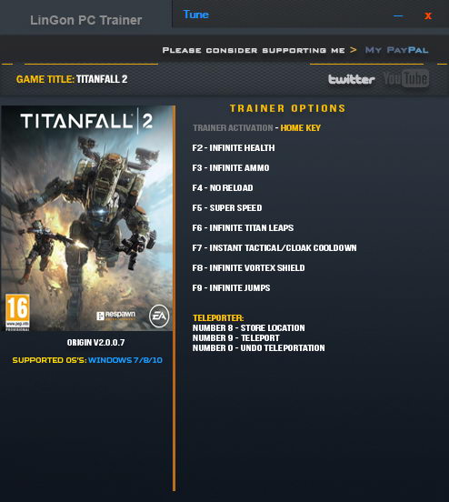 Titanfall 2: Trainer (+10) [2.0.0.7: x64] {LinGon}