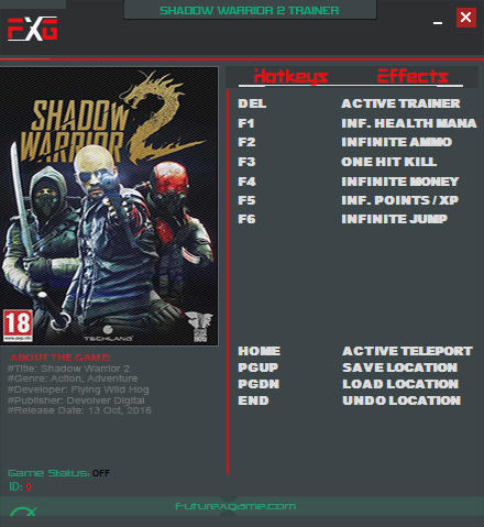 Shadow Warrior 2: Trainer (+9) [1.1.30.0] {FutureX}