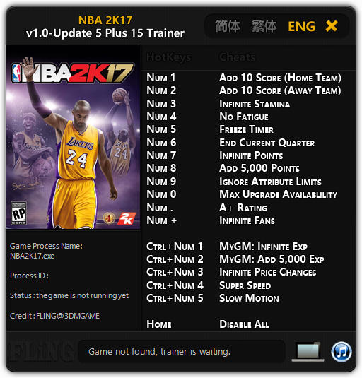 NBA 2K17: Trainer (+15) [1.0 - Update 5] {FLiNG}