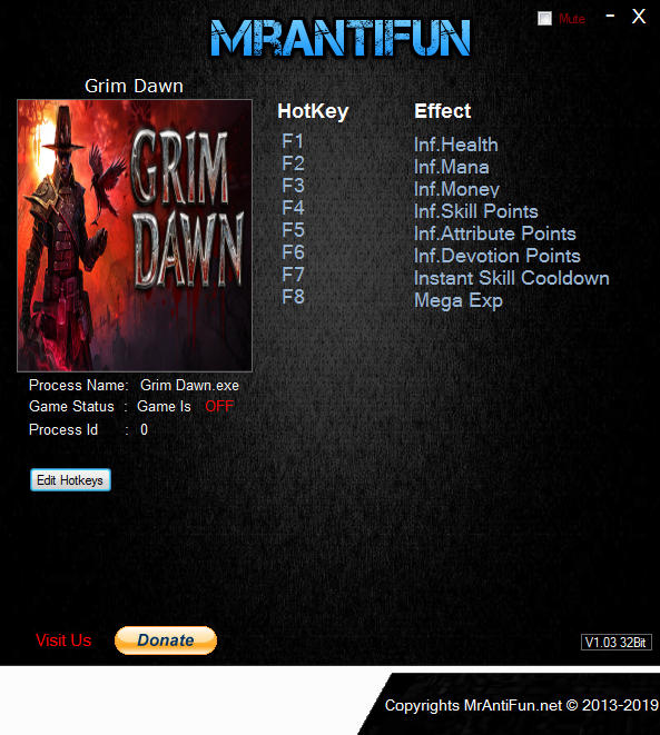 Grim Dawn: Trainer (+8) [1.0.0.7] {MrAntiFun}