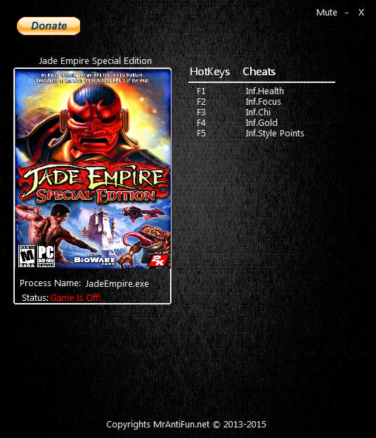 Jade Empire: Special Edition - Trainer (+5) [Latest Origin] {MrAntiFun}