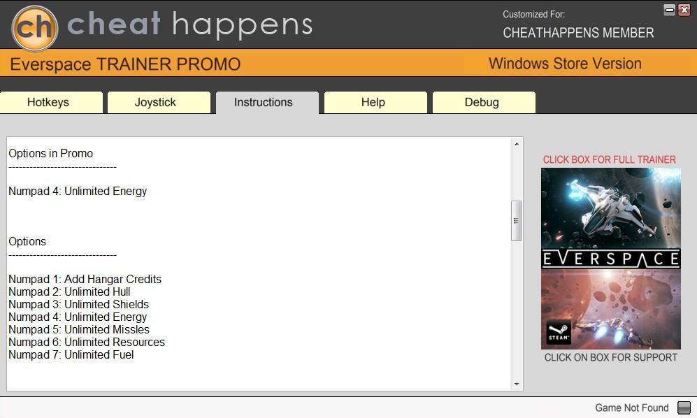 Everspace: Trainer +7 v1.0.6.0 (WINDOWS STORE) {CheatHappens.com}
