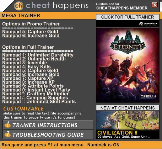 Pillars of Eternity: Trainer +13 v3.7.0.1280 {CheatHappens.com}