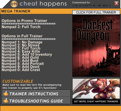 Darkest Dungeon: Trainer +10 (BUILD 21142) {CheatHappens.com}