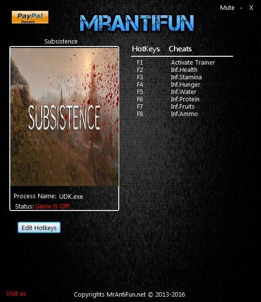 Subsistence: Trainer +7 [UPD: 07.04.2018] {MrAntiFun}