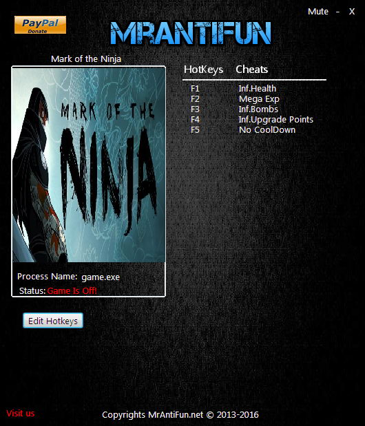 Mark of the Ninja: Trainer +5 v.01.10.2017 {MrAntiFun}