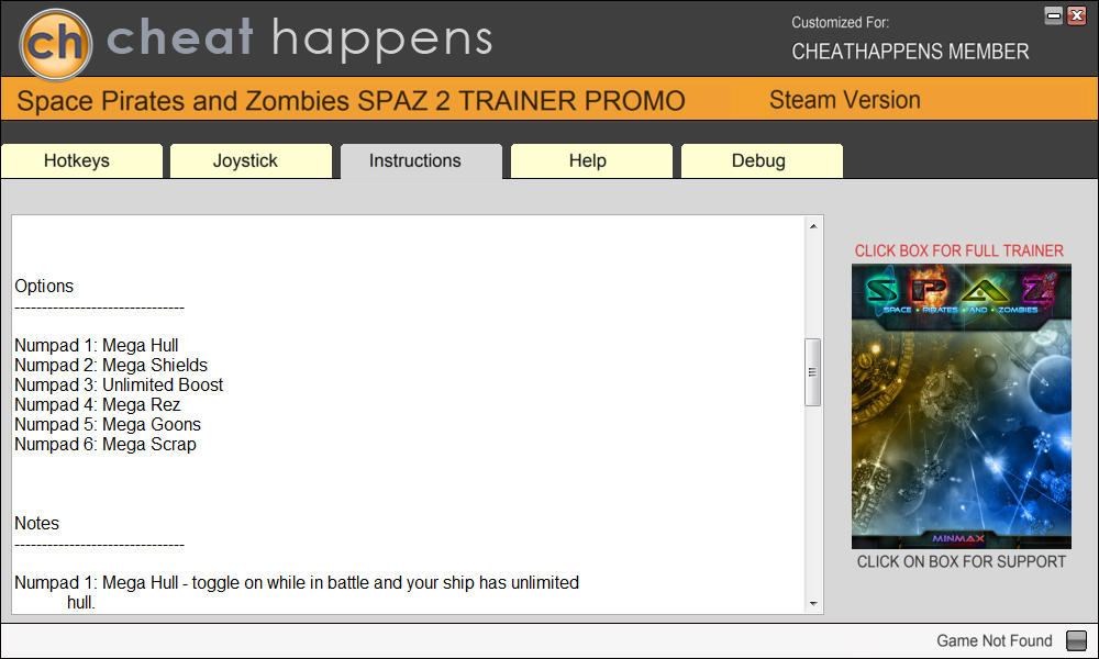 Space Pirates and Zombies 2: Trainer +6 v1.0 {CheatHappens.com}