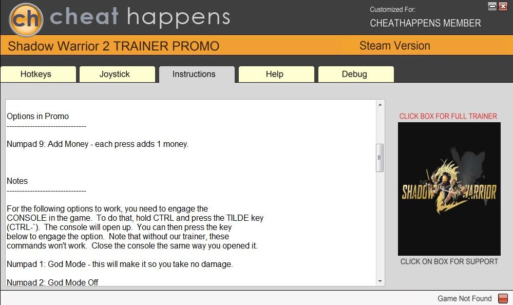 Shadow Warrior 2: Trainer +10 v1.1.11.0 (STEAM+GOG) {CheatHappens.com}