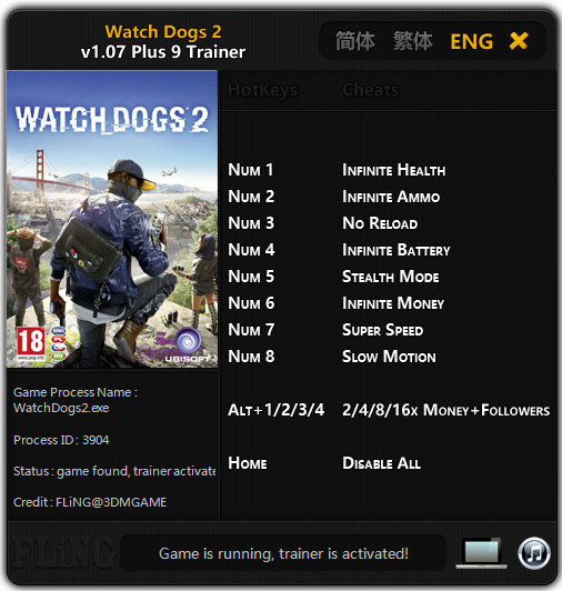 Watch Dogs 2 Trainer >> Watch_Dogs 2: Trainer (+9) [1.07] {FLiNG} - Download - GTrainers