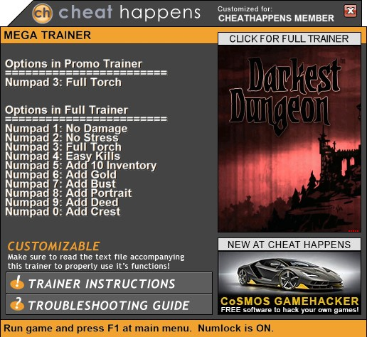 Darkest Dungeon: Trainer +10 (BUILD 24357+ THE COLOR OF MADNESS) {CheatHappens.com}
