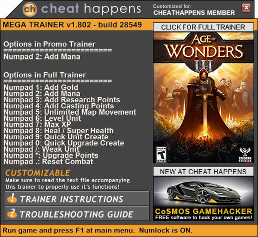 Age of Wonders 3: Trainer +13 v1.802 28549 (+ETERNAL LORDS/GOLDEN REALMS) {CheatHappens.com}