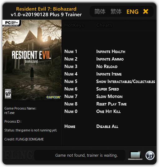 Resident Evil 7: Biohazard - Trainer +9 v2019 01 28 {FLiNG