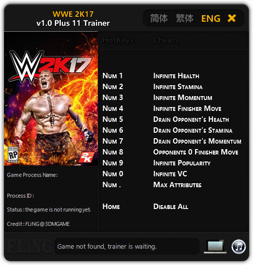 <b>WWE 2K17</b>: Trainer +11 v1.0 {FLiNG} - Download - GTrainers