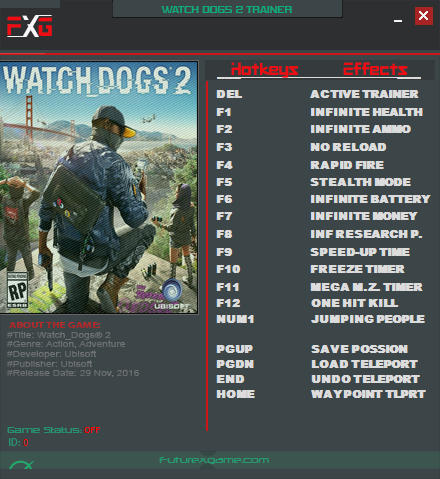<b>Watch Dogs</b> 2: Trainer +15 v1.07.141.6.988937 {FutureX} - Download ...